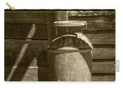 Sepia Photograph Of Vintage Creamery Can By The Old Homestead In 1880 Town Carry-all Pouch