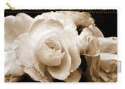 Sepia Roses With Rain Drops Carry-all Pouch by Jennie Marie Schell