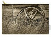 Sepia Toned Photo Of An Old Broken Wheel Of A Farm Wagon Carry-all Pouch