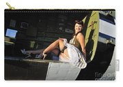 Sexy 1940s Style Pin-up Girl Sitting Carry-all Pouch by Christian Kieffer