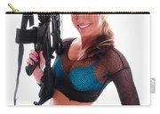 Sexy Woman Holding An Ar15 Carry-all Pouch