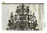 Shabby Chic Rustic Black Chandelier On White Washed Wood Carry-all Pouch
