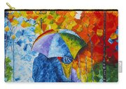Sharing Love On A Rainy Evening Original Palette Knife Painting Carry-all Pouch