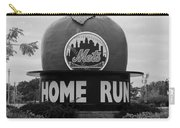 Shea Stadium Home Run Apple In Black And White Carry-all Pouch by Rob Hans