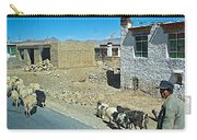 Sheep And Shepherd Along The Road To Shigatse-tibet Carry-all Pouch
