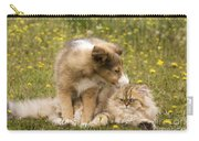 Sheltie Puppy And Persian Cat Carry-all Pouch