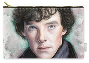 Sherlock Holmes Portrait Benedict Cumberbatch Carry-all Pouch by Olga Shvartsur