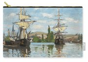 Ships Riding On The Seine At Rouen Carry-all Pouch by Claude Monet