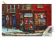 Shops And Streets Of St Henri- Montreal Paintings Depanneur Coca Cola Winter City Scenes Carry-all Pouch
