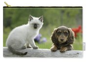 Siamese Kitten And Dachshund Puppy Carry-all Pouch