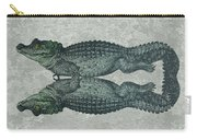 Siamese Twins Blue And Green Crocodiles On Sage Green Stone Carry-all Pouch
