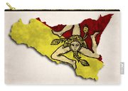 Sicily Map Art With Flag Design Carry-all Pouch