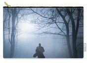 Silhouette Man Running In Foggy Woodland Carry-all Pouch