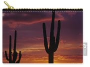 Silhouetted Saguaro Cactus Sunset  Arizona State Usa Carry-all Pouch