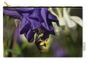 Silky Blue Columbine And A Busy Bee Carry-all Pouch