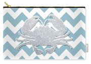Silver Glitter Crab Silhouette - Chevron Pattern Carry-all Pouch