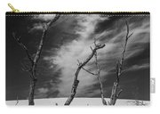 Silver Lake Dune With Dead Trees And Cirrus Clouds In Black And White Carry-all Pouch