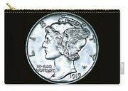Black Silver Mercury Dime Carry-all Pouch