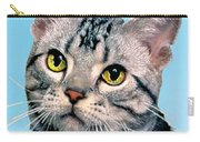 Silver Tabby Kitten Original Painting For Sale Carry-all Pouch