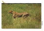 Single Cheetah Running Through The Grass Carry-all Pouch