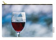 Single Glass Of Red Wine On Blue And White Background Carry-all Pouch