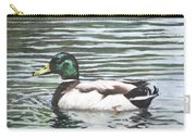 Single Mallard Duck In Water Carry-all Pouch