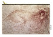 Sketch Of A Roaring Lion Carry-all Pouch by Leonardo Da Vinci