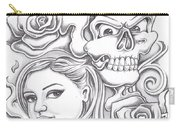 Skull And Roses Carry-all Pouch