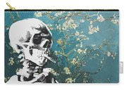 Skull With Burning Cigarette On Cherry Blossom Carry-all Pouch