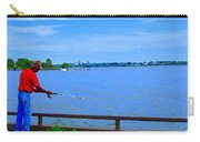 Sky Blue Calm Waters Fisherman On The Pier  Lachine Canal Montreal Summer Scenes Carole Spandau Carry-all Pouch