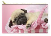 Sleeping Pug In Pink Basket Carry-all Pouch by Greg Cuddiford