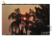 Smoke Covered Sky Sunset Thru The Palm Trees Carry-all Pouch