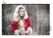 Snow Beauty In Red Carry-all Pouch