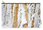 Snow Covered Birch Trees Carry-all Pouch by John Kelly