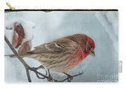 Snow Day Housefinch With Texture Carry-all Pouch