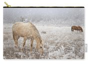 Snow Falling On Horses Carry-all Pouch