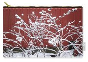 Snow On Burdock Burr Weed Against Red Barn Siding Carry-all Pouch