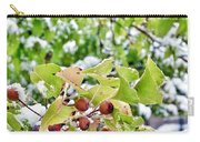 Snow On Green Leaves With Red Berries Carry-all Pouch