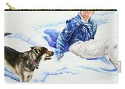 Snow Play Sadie And Andrew Carry-all Pouch by Carolyn Coffey Wallace