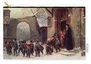 Snow Scene  Children Leaving School Carry-all Pouch