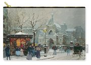 Snow Scene In Paris Carry-all Pouch by Eugene Galien-Laloue