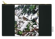 Snow Scene Of Little Bird Perched Carry-all Pouch