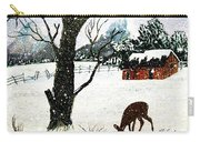 Snowfall And Visiting Doe Carry-all Pouch