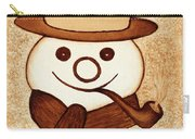Snowman With Pipe And Topper Original Coffee Painting Carry-all Pouch