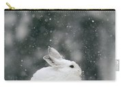 Snowshoe Hare In Snowfall Yellowstone Carry-all Pouch