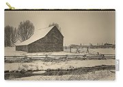 Snowstorm At The Ranch Sepia Carry-all Pouch