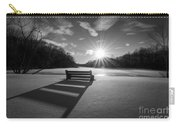 Snowy Bench Bw Carry-all Pouch