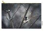 Snowy Chickadee Carry-all Pouch by Shane Holsclaw