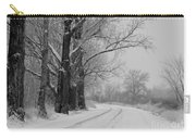 Snowy Country Road - Black And White Carry-all Pouch by Carol Groenen