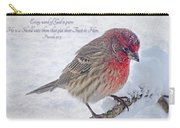 Snowy Day Housefinch With Verse  Carry-all Pouch